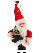 """Мягкая игрушка Зимнее волшебство Дед Мороз """"В красной шубке с зелёным мешком"""" 9*14 см"""